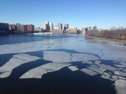 Ice blocks floating in Charles River