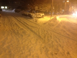 Snow covering streets near my home in Boston